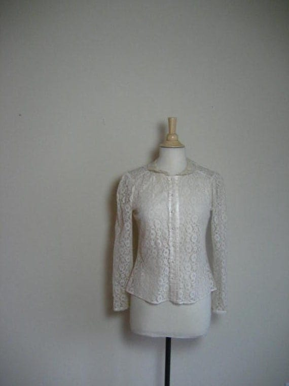 FREE SHIPPING-Vintage Lace Long Sleeve Blouse