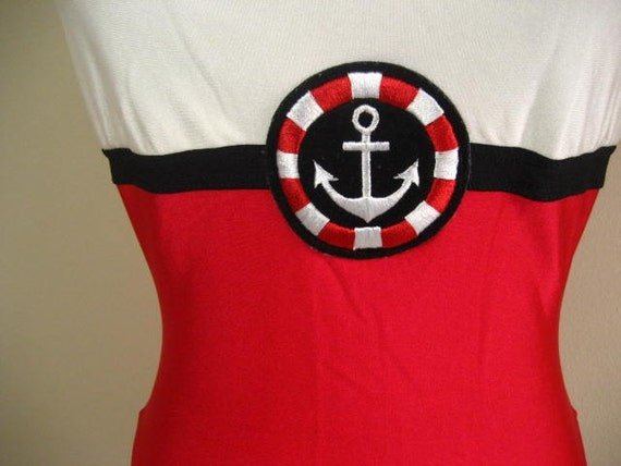 Vintage Nautical Theme One Piece Swimsuit by La Blanca- Size 12