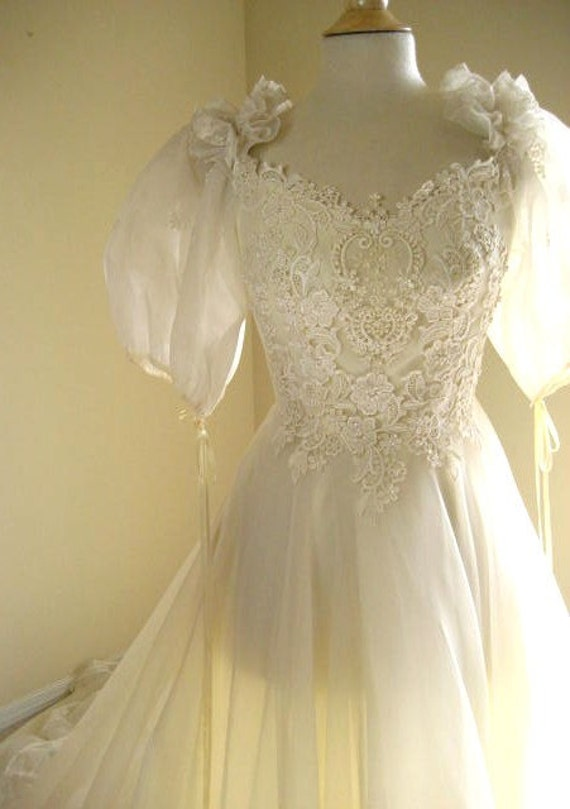 Vintage Eve of Milady Off White Beaded Lace Wedding Dress with Train- Bridal Size 10