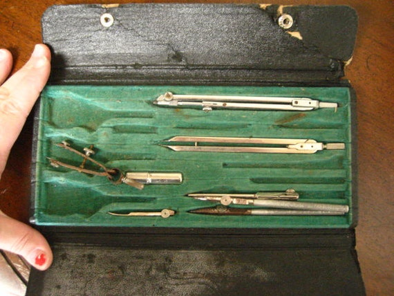 Vintage Drafting Tools and Case- Made in Germany