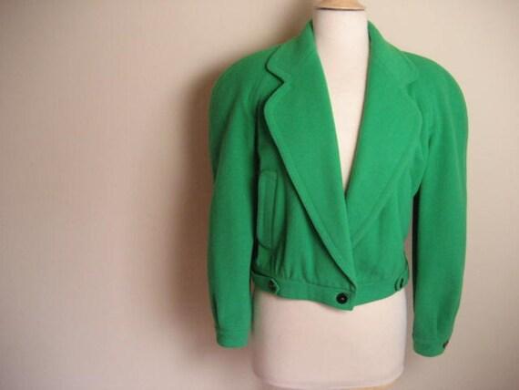 FREE SHIPPING-Vintage Liz Claiborne Bright Green Cropped Wool Jacket- Size M