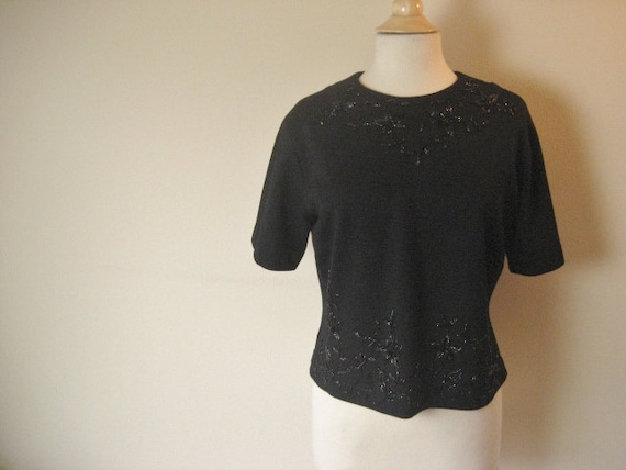 FREE SHIPPING-Vintage Beaded Black Short Sleeve Sweater- Size M-L
