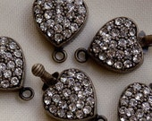 RHINESTONE HEART CLASPS Antique Bronze Plated Vintage Style 14mm