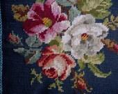 NEEDLEPOINT Pillow Royal Blue Velveteen Floral Gimp Cording Like New