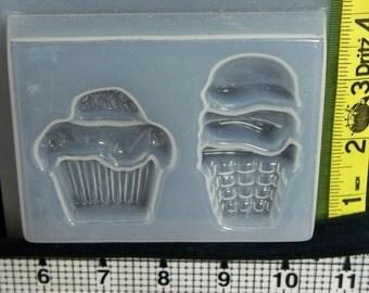 Cupcake ice cream cone mold -resin jewelry making crafts - 848