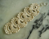 French Lace Crocheted Wedding Bride or Bridesmaid Bracelet in Ivory Custom Orders Available