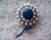 Gorgeous Blue and White Enamel Flower Pin Brooch