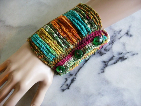 RESERVED for jessica higgins Summer Chains Cuff Multicolor Crochet Boho Bracelet