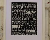 Sewing Words Subway Art