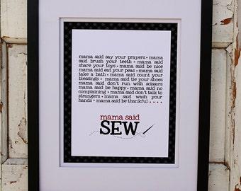 Mama Said Sew Canvas Print