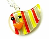 Little Striped Bird Fused Glass Pendant Necklace