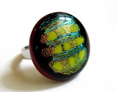 Big and Sparkly Fused Glass Ring