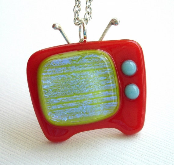 Retro Red and Electric Green Fused Glass Television Necklace