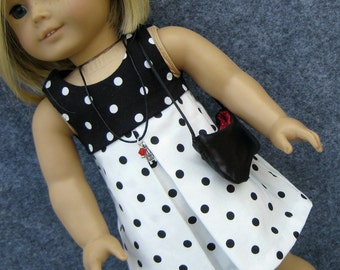 Rêver de Paris Black and White Dress for American Girl