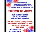 12 Personalized Fourth of July Invitations - Fireworks