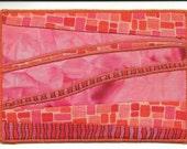 Salmon Batik Postcard  Abstract Fiber Art Fabric Postcard 4 in x 6 in