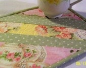 Quilted Mug Rug Roses and Teapots Fabrics String Quilt Design Mini Placemat Made To Order