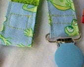 Pacifier Clip Toy Holder in Pastel Blue and Green Frog Print Fabric