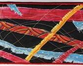 "Fabric Art Postcard ""Wild Thang""   4x6 no. 1"