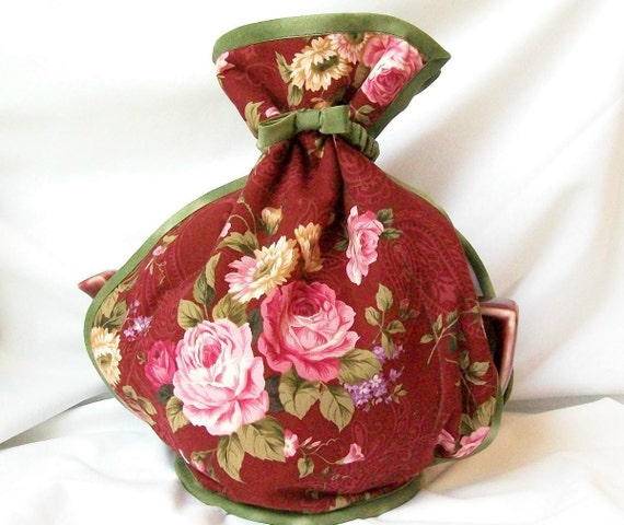 Rose Tea Cozy in Pink Cabbage Rose on Burgundy Ready to Ship