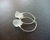 White Sea Glass Hoop Earrings