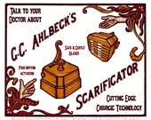 G.C. Ahlbeck's Scarificator bloodletting woodcut print 20x24