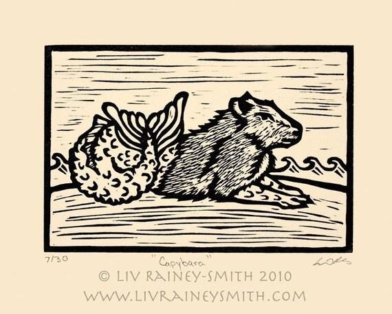 Last one! The honorary fish Capybara woodcut print