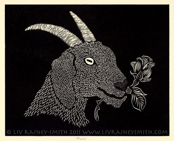 Flora woodcut Goat rose print