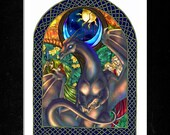 """Guardian Dragon with Stained Glass and Knotwork Border Matted Print - 8 x 10"""" - """"Story of Eternity"""""""