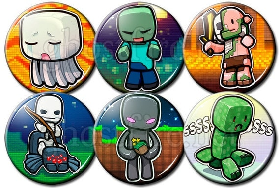 "Minecraft Chibi (Set A) 1.75"" Pin-Backed Buttons - Set of 6"
