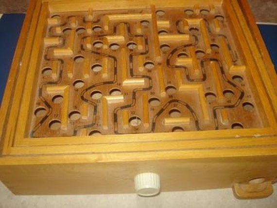 Vintage Wooden Labyrinth Marble Maze Game B By Totallyvintage