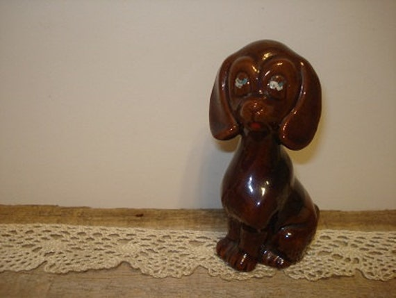 Vintage Dog Figurine Terra Cotta Pottery
