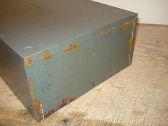 Vintage Industrial Steelmaster Flat Drawer Card Filing Cabinet