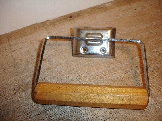Vintage Metal Wood Toilet Paper Holder Rack