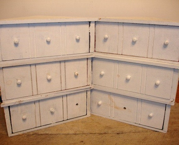 Vintage Shabby White Painted Wood Corner Drawers Wall Hangings Set