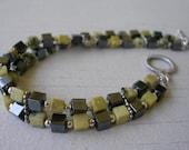 Yellow Turquoise and Hematite Bracelet