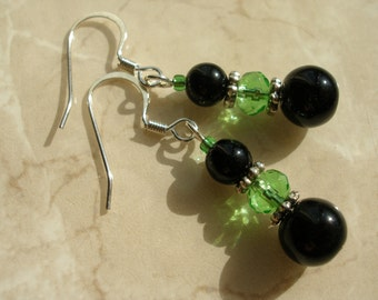 Green and Black Glass Earrings