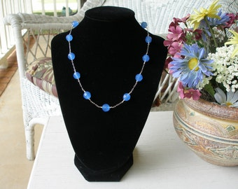 Periwinkle Blue and Sterling Silver Necklace