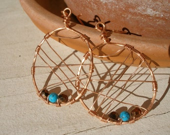 Copper Web Turquoise Brown Earrings