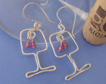 Girls Night Out Wine Glass earrings