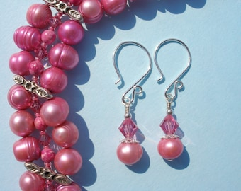 Pink Pearl Crystal Earrings