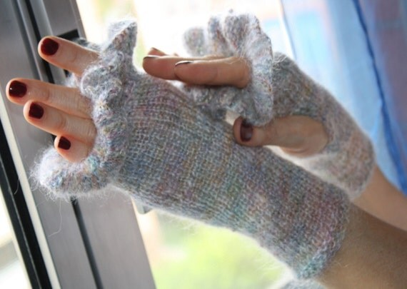 RAINBOW  CLOUDS - light and puffy fingerless gloves