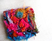 Felted and Embellished Sari Silk Brooch HOMAGE