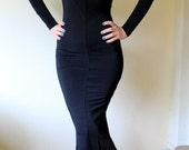 VINTAGE 1980s Elvira gothic black dress S