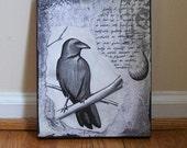 Concrete Raven, original painting/collage