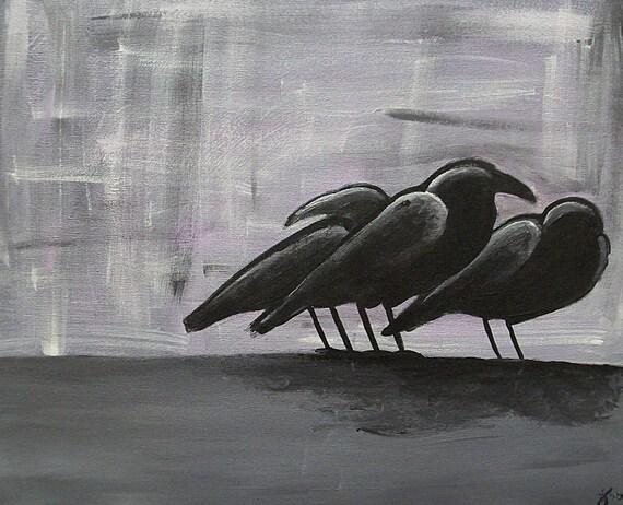 "Raven, Crow painting print ""a little murder..."""
