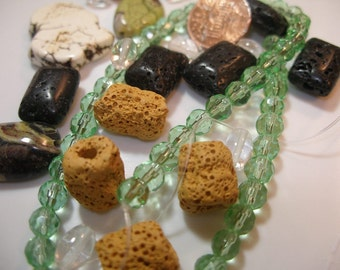Semiprecious gem bead assortment - Lava, crystal, turquoise and more (23 plus a strand) Team ESST, OlympiaEtsy, paganteam, WWWG, CraftCount