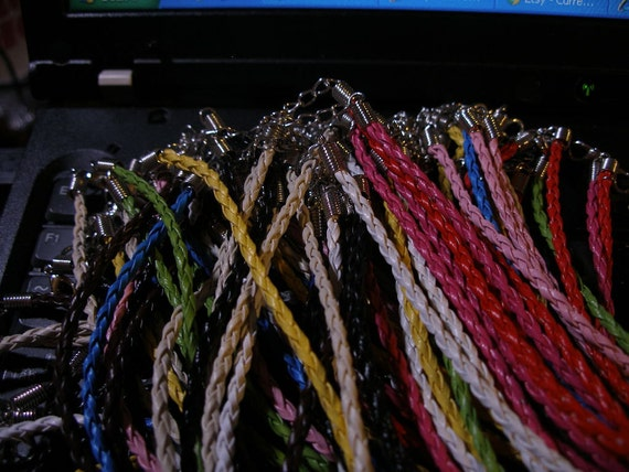 Neck cords (50) braided pleather, mixed colors, one-time deal  TeamESST,  OlympiaEtsyTeam, etsyBead