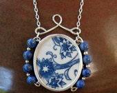 "Vintage Ceramic Shard Necklace, Sterling Silver, Stone Beads, Striking ""Ming Tree"""