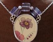 Vintage Broken China Ceramic Shard Necklace, Sterling Silver, Glass Beads, Pretty Purple Flower